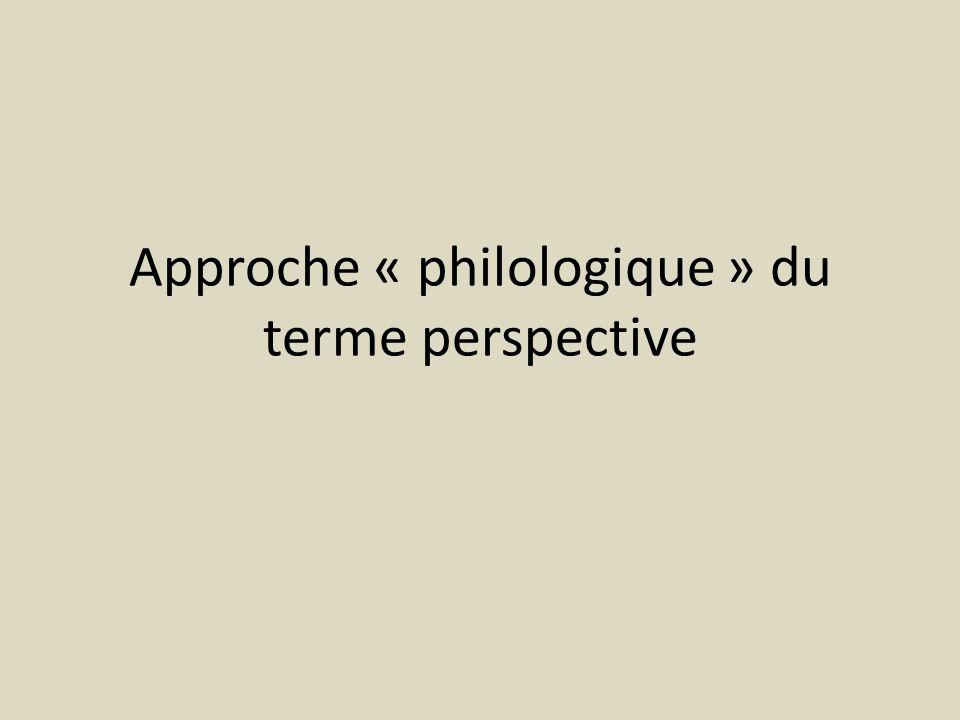 Approche « philologique » du terme perspective