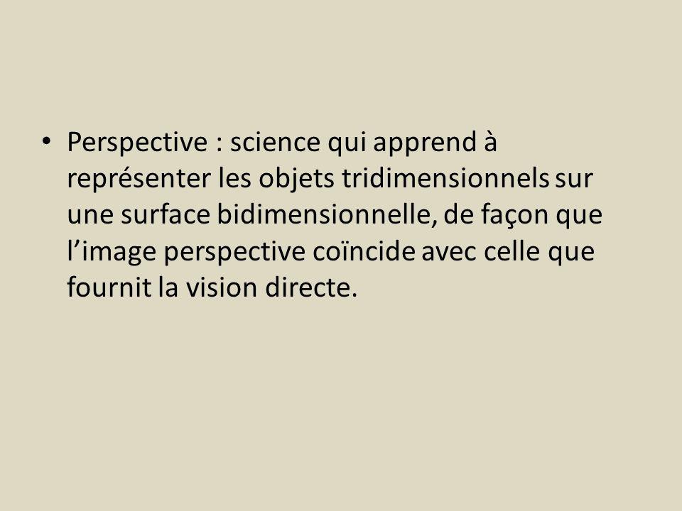 Perspective : science qui apprend à représenter les objets tridimensionnels sur une surface bidimensionnelle, de façon que l'image perspective coïncide avec celle que fournit la vision directe.