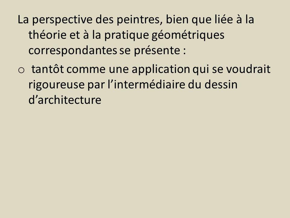 La perspective des peintres, bien que liée à la théorie et à la pratique géométriques correspondantes se présente :