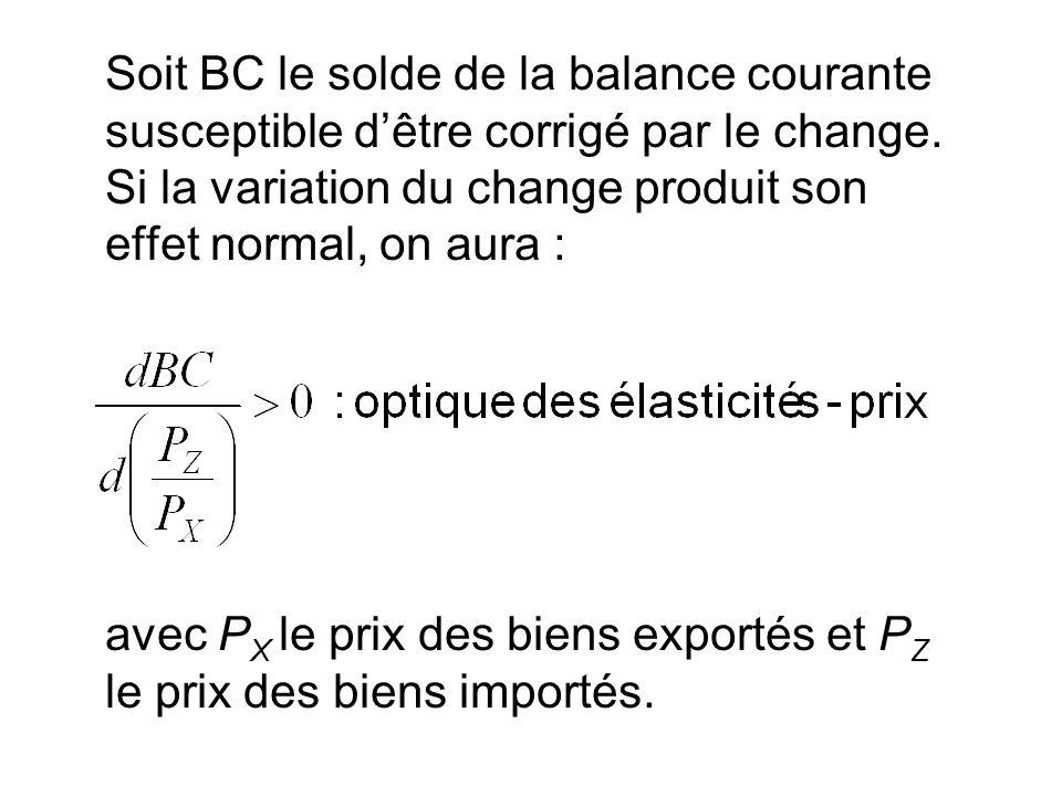 Soit BC le solde de la balance courante susceptible d'être corrigé par le change. Si la variation du change produit son effet normal, on aura :