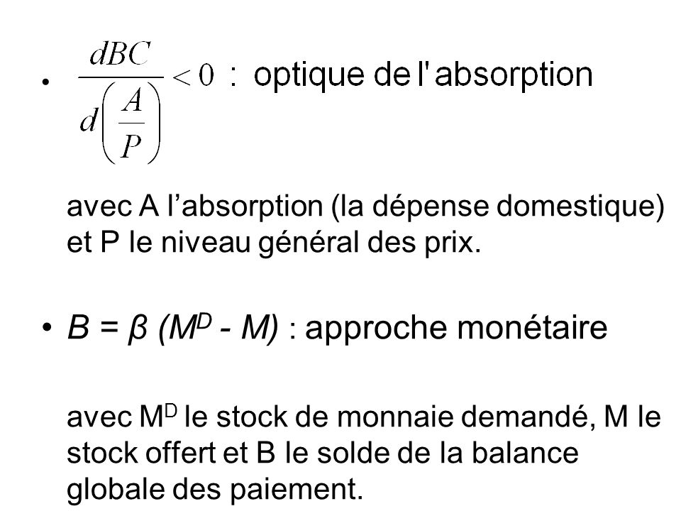 B = β (MD - M) : approche monétaire