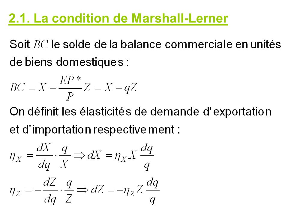2.1. La condition de Marshall-Lerner