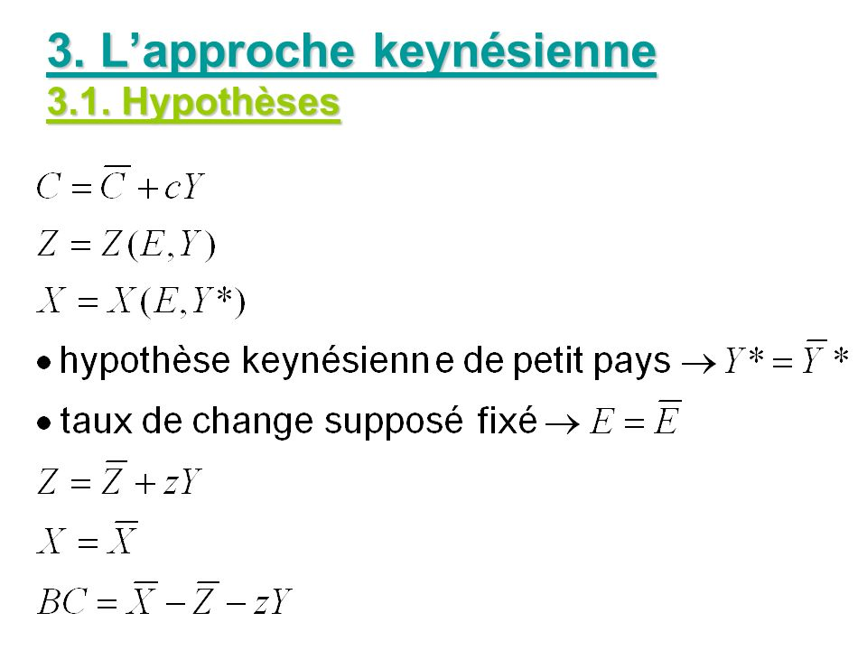 3. L'approche keynésienne 3.1. Hypothèses