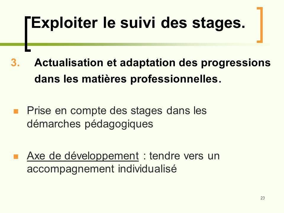 Exploiter le suivi des stages.