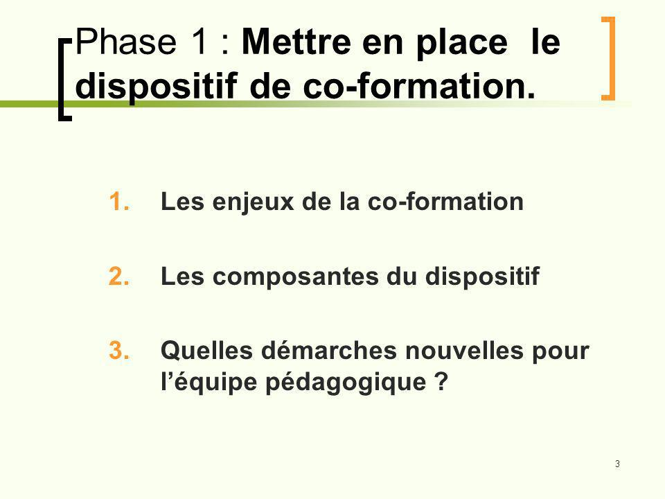 Phase 1 : Mettre en place le dispositif de co-formation.