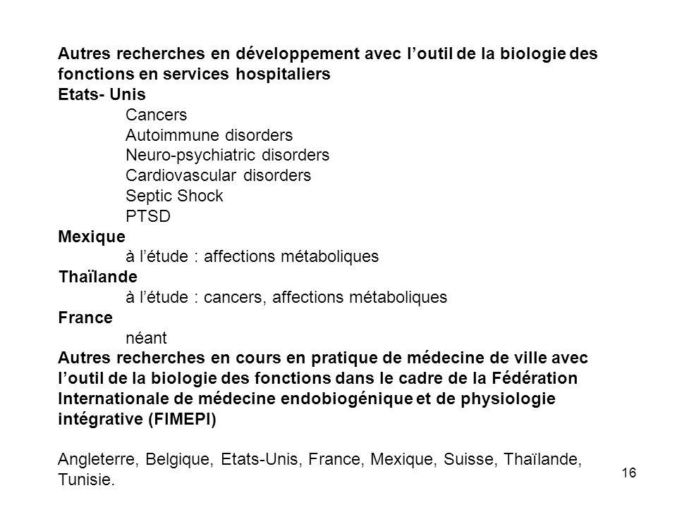 Autres recherches en développement avec l'outil de la biologie des fonctions en services hospitaliers