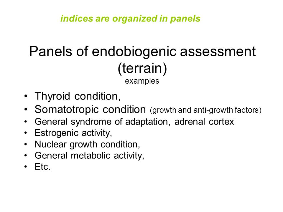 Panels of endobiogenic assessment (terrain) examples