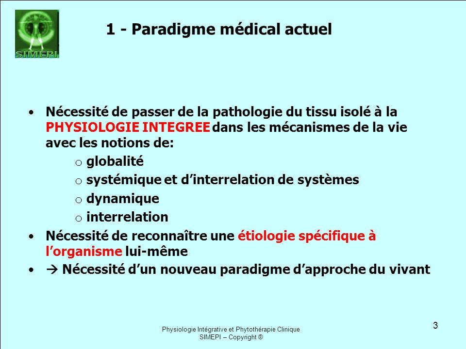 1 - Paradigme médical actuel