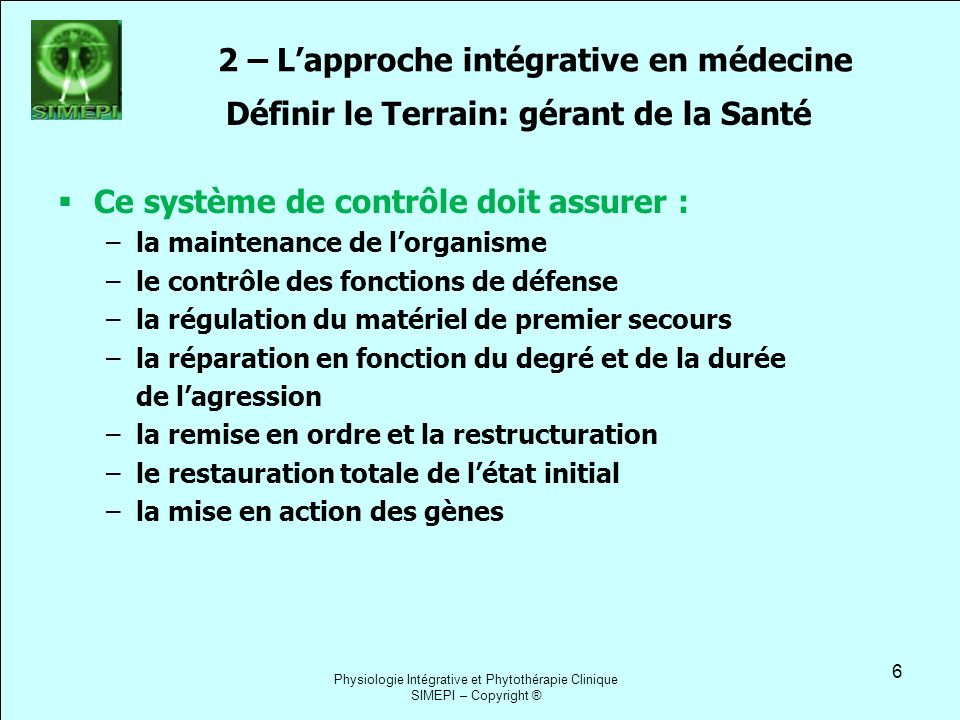 2 – L'approche intégrative en médecine
