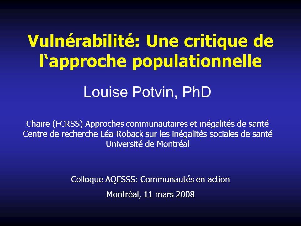 Vulnérabilité: Une critique de l'approche populationnelle