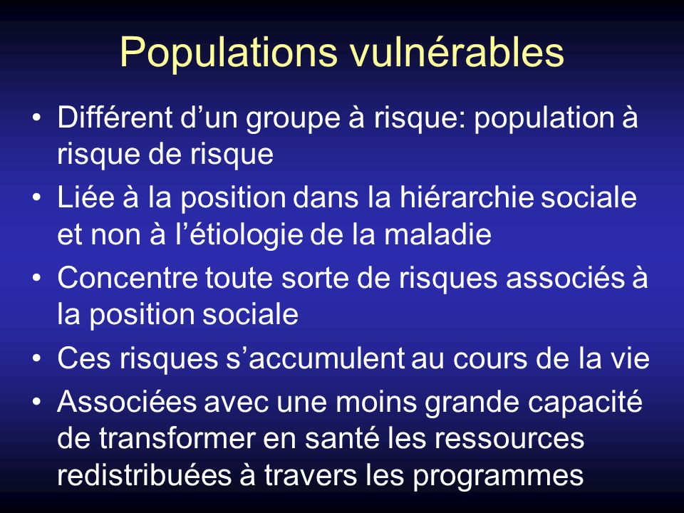 Populations vulnérables