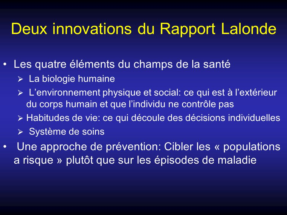 Deux innovations du Rapport Lalonde