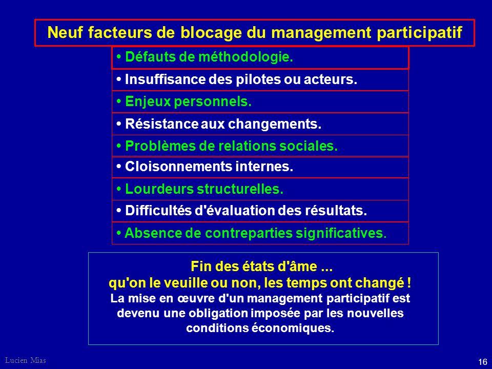 Neuf facteurs de blocage du management participatif