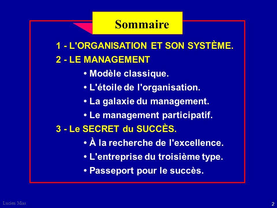Sommaire 1 - L ORGANISATION ET SON SYSTÈME. 2 - LE MANAGEMENT