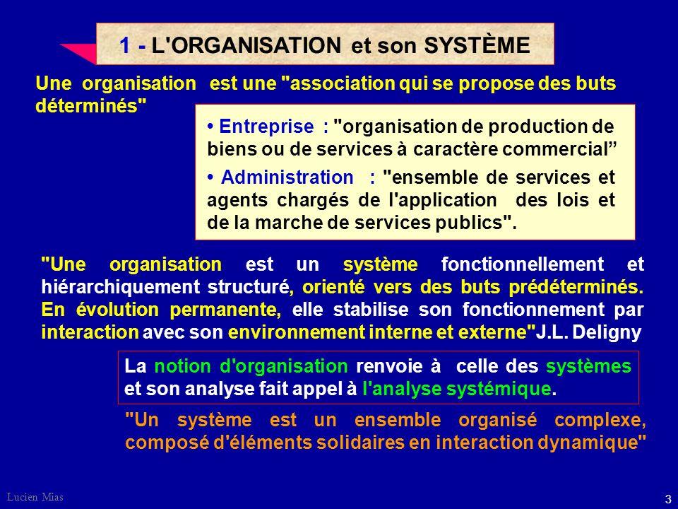 1 - L ORGANISATION et son SYSTÈME