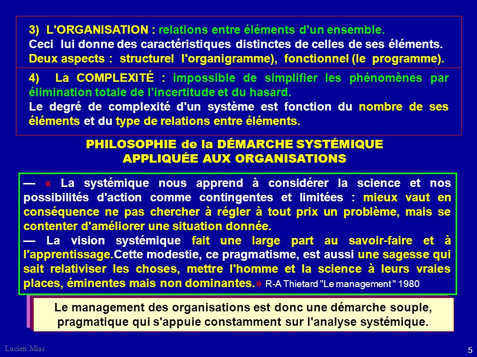 3) L ORGANISATION : relations entre éléments d un ensemble.