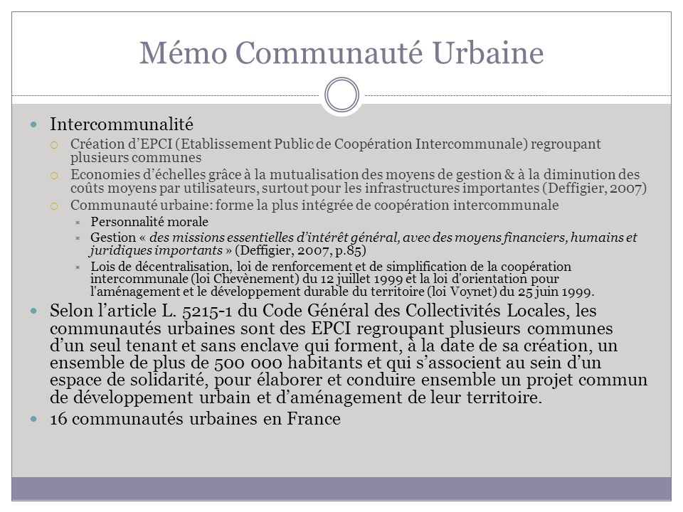 Mémo Communauté Urbaine