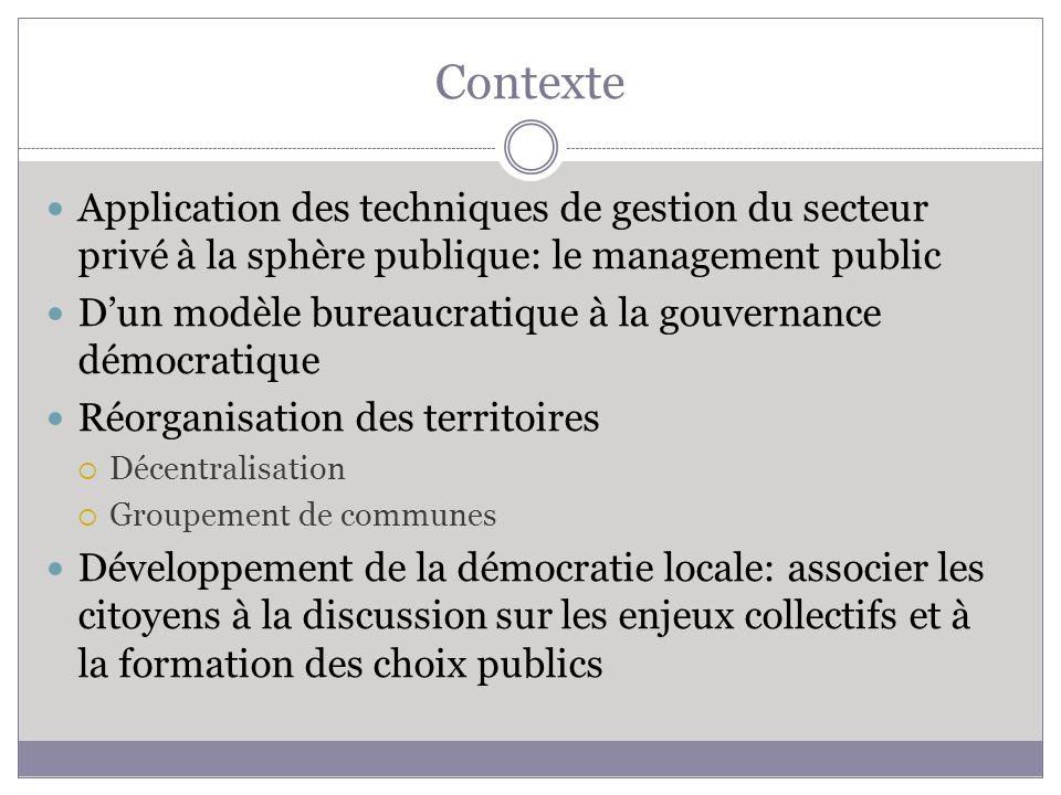 Contexte Application des techniques de gestion du secteur privé à la sphère publique: le management public.