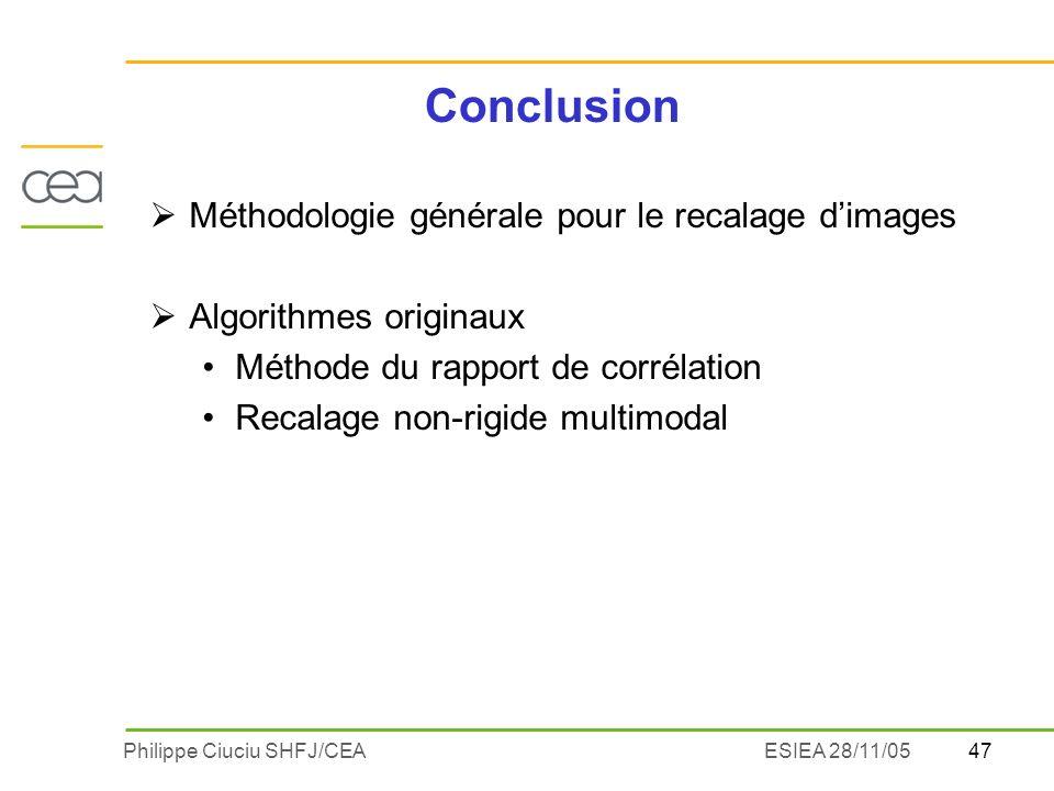 Conclusion Méthodologie générale pour le recalage d'images