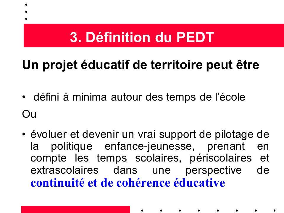 3. Définition du PEDT Un projet éducatif de territoire peut être