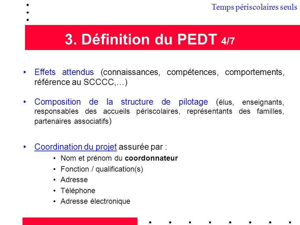 3. Définition du PEDT 4/7 3.1 Temps périscolaires seuls