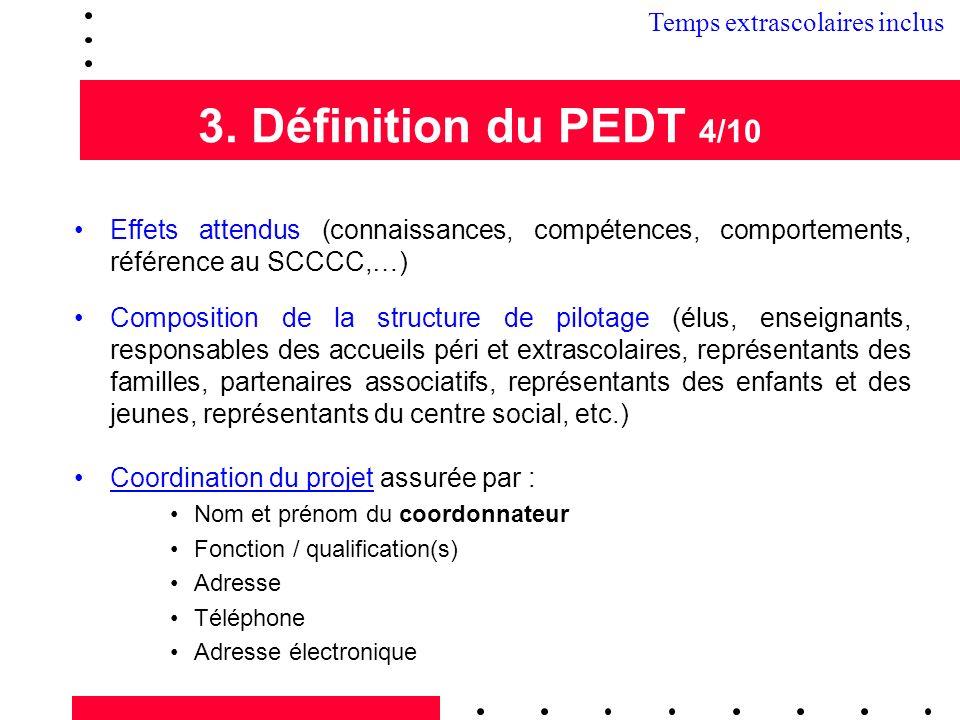 3. Définition du PEDT 4/10 3.2 Temps extrascolaires inclus