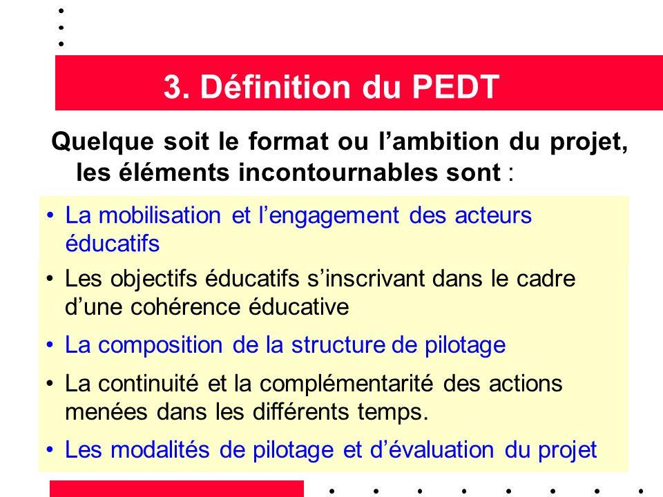 3. Définition du PEDT Quelque soit le format ou l'ambition du projet, les éléments incontournables sont :