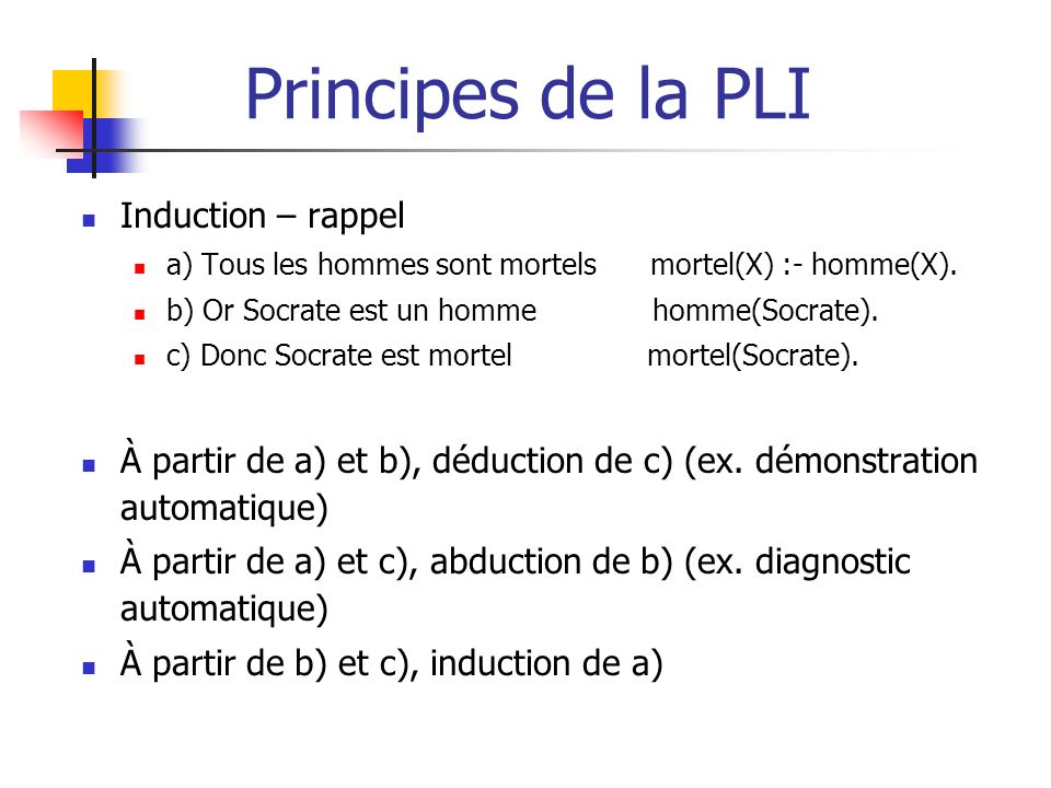 Principes de la PLI Induction – rappel