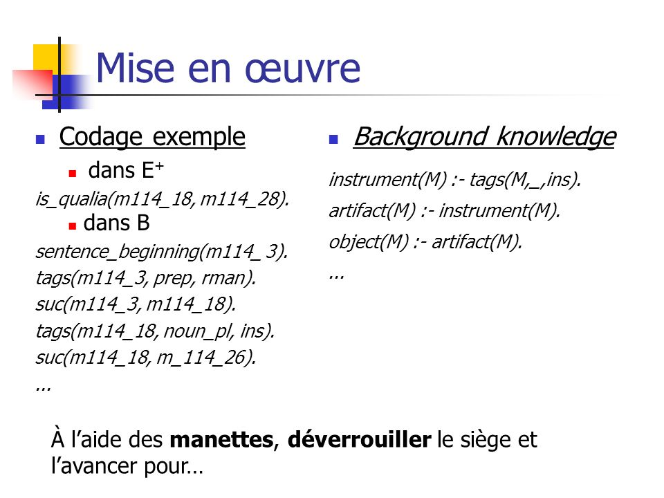 Mise en œuvre Codage exemple Background knowledge dans E+ dans B