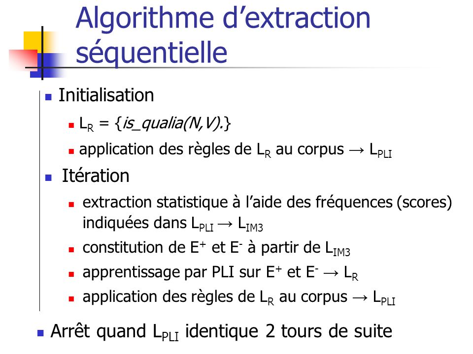 Algorithme d'extraction séquentielle
