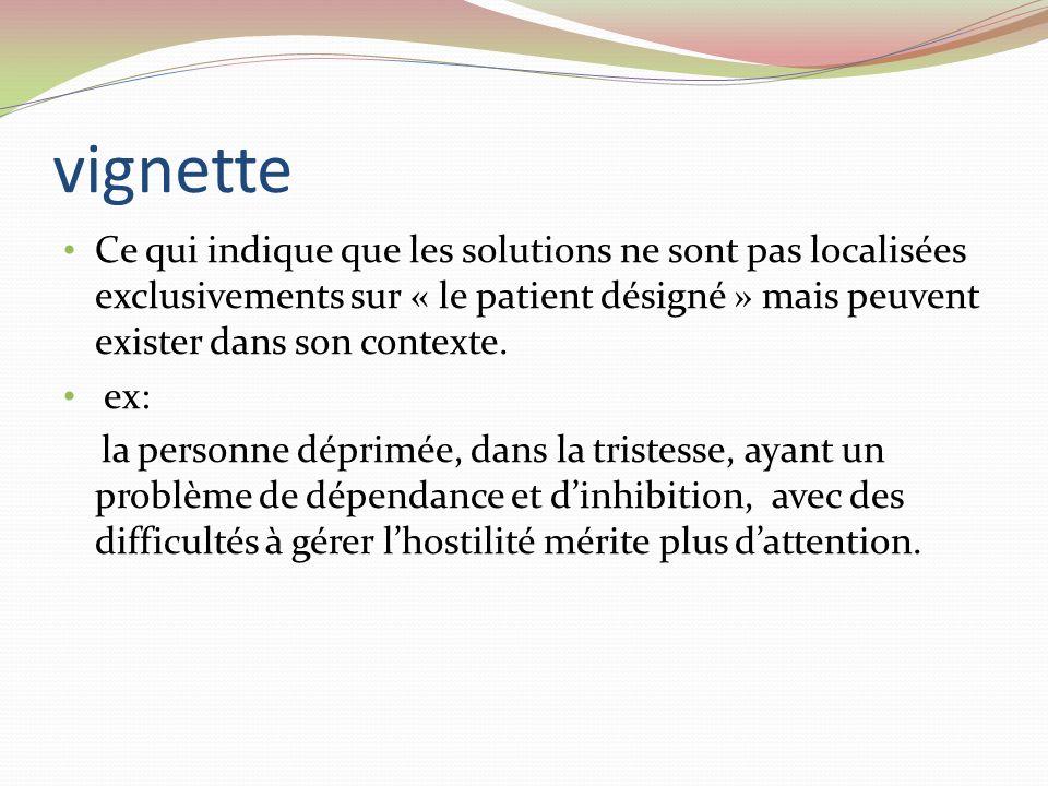 vignette Ce qui indique que les solutions ne sont pas localisées exclusivements sur « le patient désigné » mais peuvent exister dans son contexte.