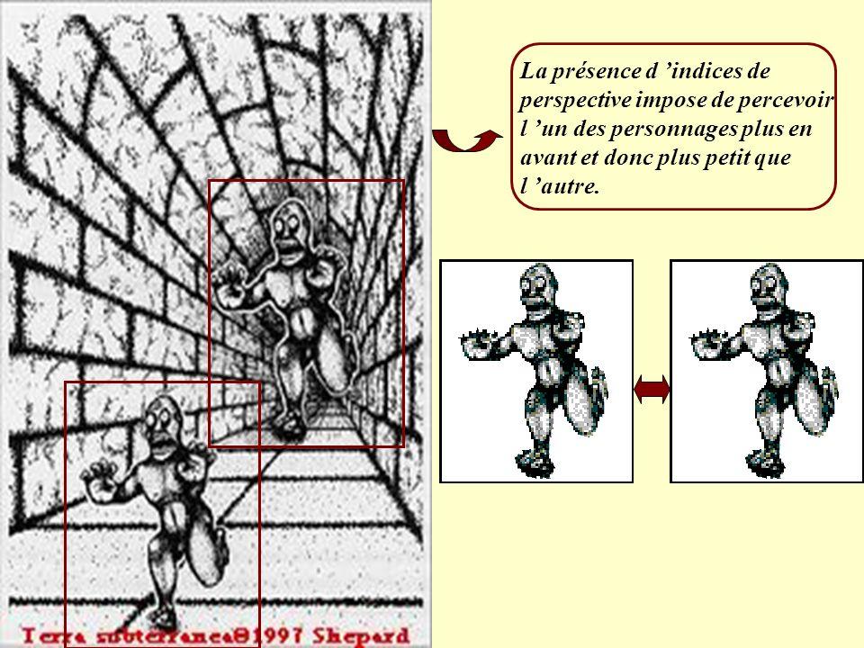La présence d 'indices de perspective impose de percevoir