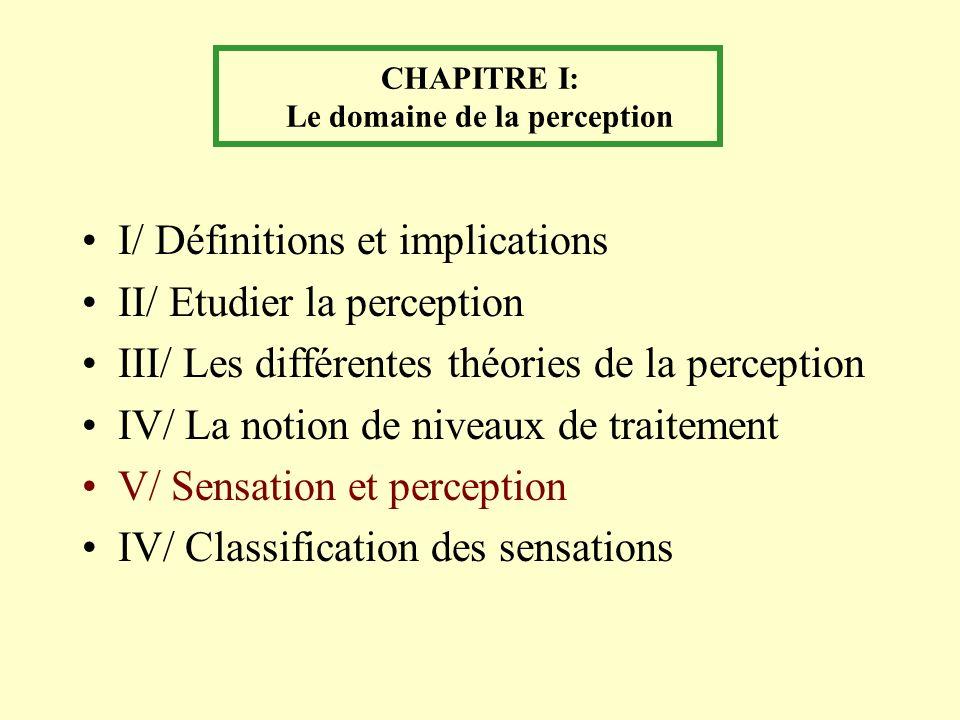 CHAPITRE I: Le domaine de la perception