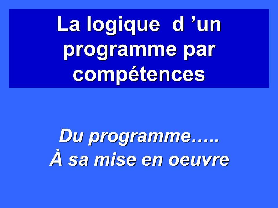La logique d 'un programme par compétences