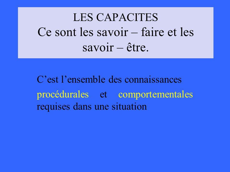 LES CAPACITES Ce sont les savoir – faire et les savoir – être.