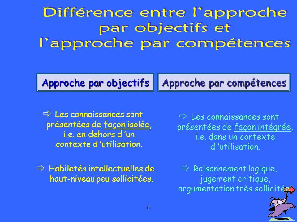 la logique d  u2019un programme par comp u00e9tences
