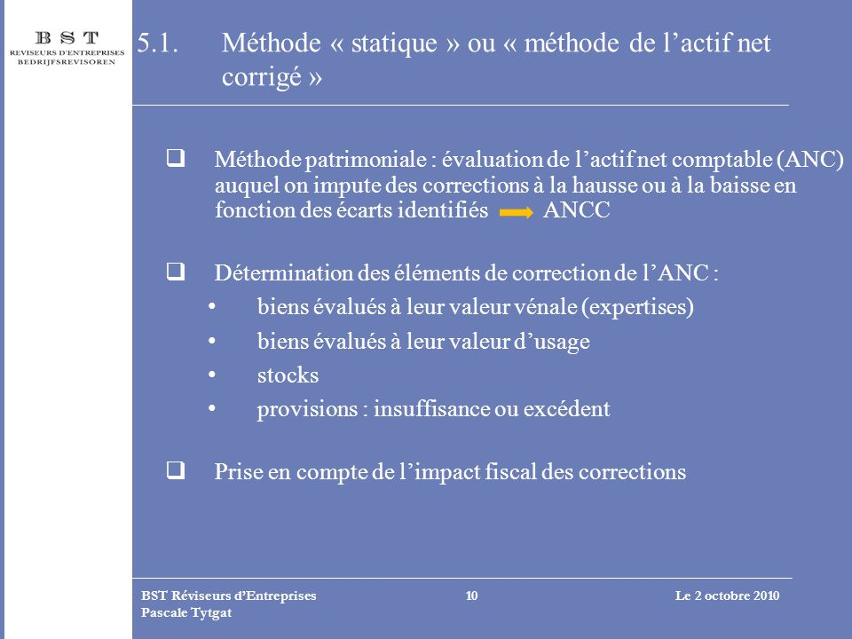 5.1. Méthode « statique » ou « méthode de l'actif net corrigé »