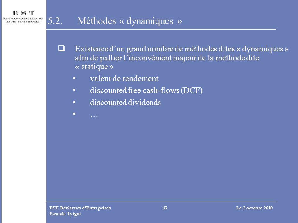 5.2. Méthodes « dynamiques »