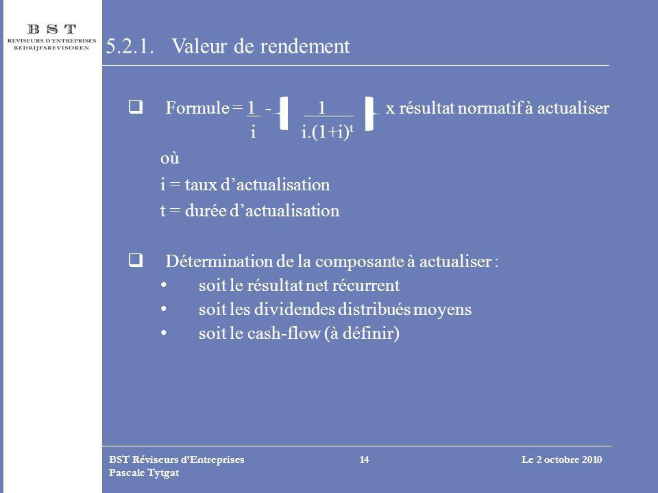 5.2.1. Valeur de rendement Formule = 1 - 1 x résultat normatif à actualiser.