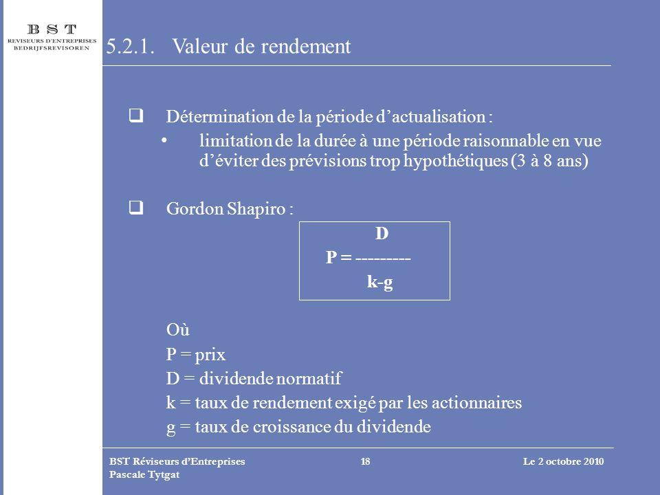 5.2.1. Valeur de rendement Détermination de la période d'actualisation :