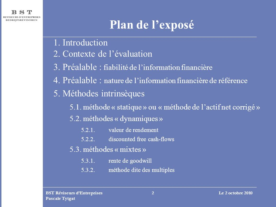 Plan de l'exposé 1. Introduction 2. Contexte de l'évaluation