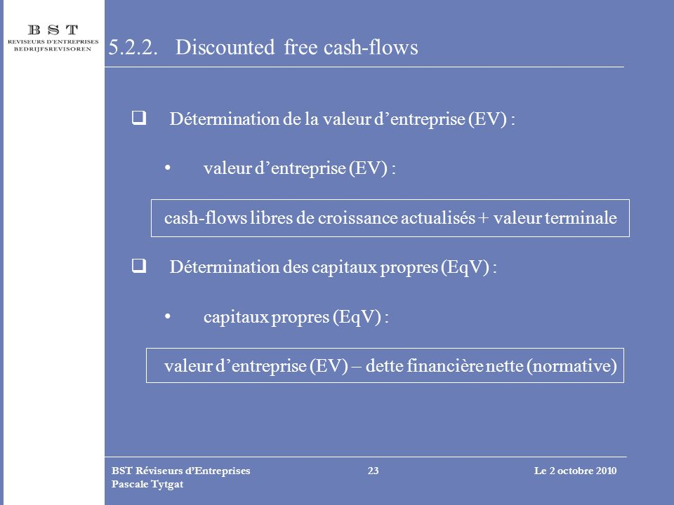 5.2.2. Discounted free cash-flows