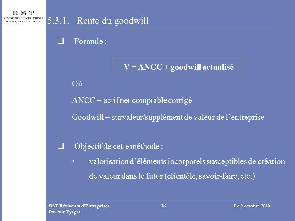 5.3.1. Rente du goodwill Formule : V = ANCC + goodwill actualisé Où