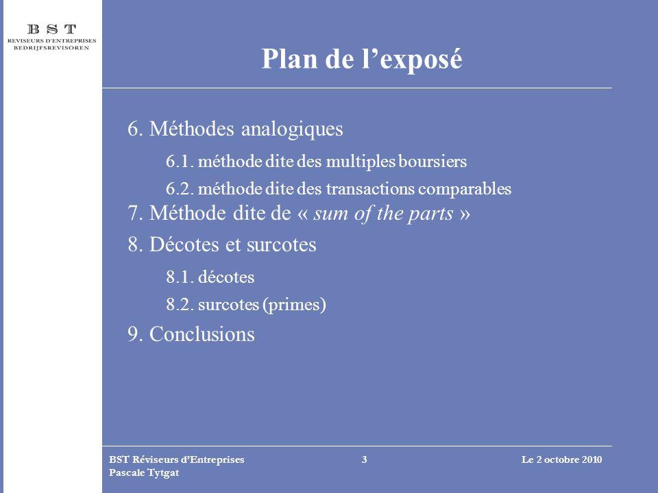 Plan de l'exposé 6. Méthodes analogiques