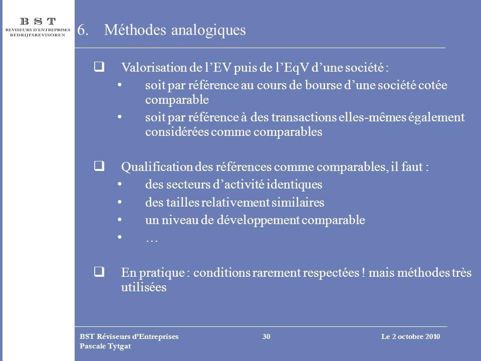 Méthodes analogiques Valorisation de l'EV puis de l'EqV d'une société : soit par référence au cours de bourse d'une société cotée comparable.