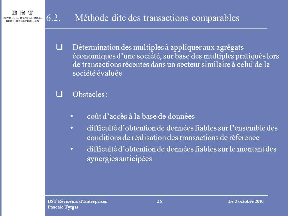 6.2. Méthode dite des transactions comparables