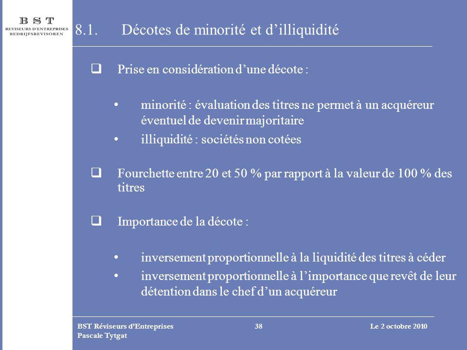 8.1. Décotes de minorité et d'illiquidité