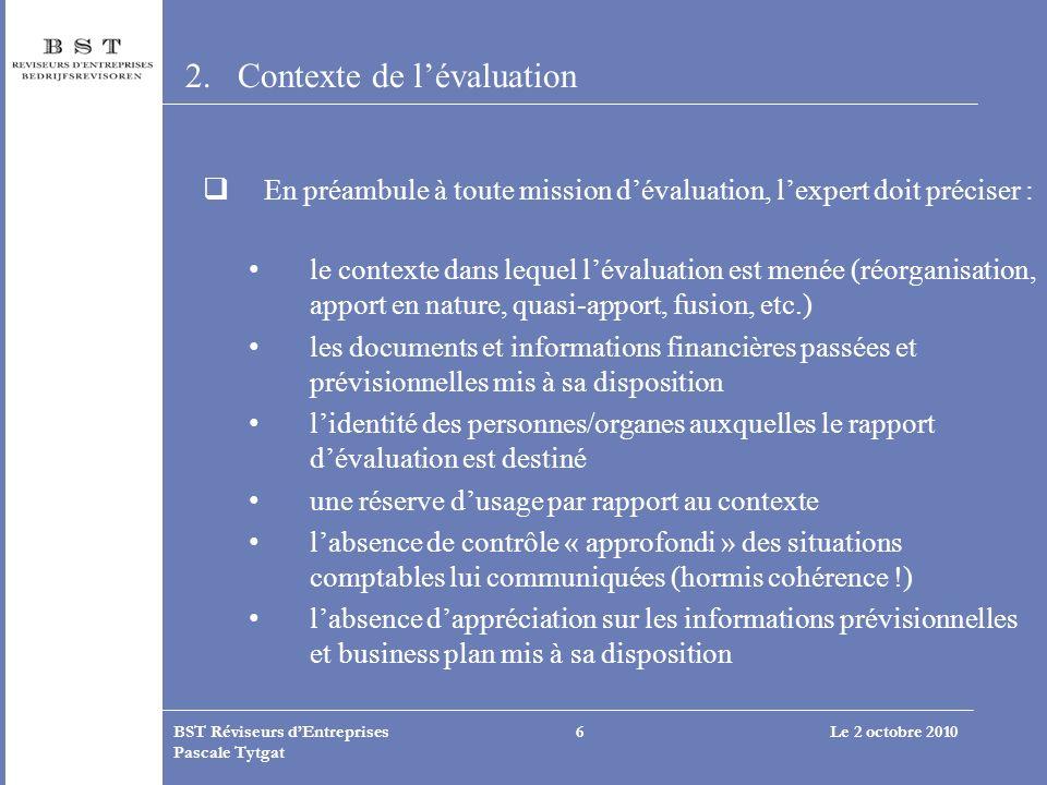 Contexte de l'évaluation