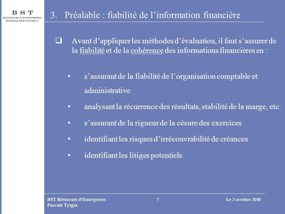 Préalable : fiabilité de l'information financière