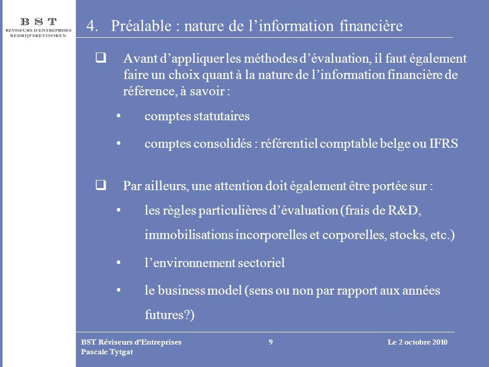 Préalable : nature de l'information financière